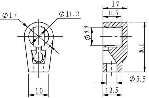 GRID/PLATE CAP, CERAMIC FOR 807, 6146B