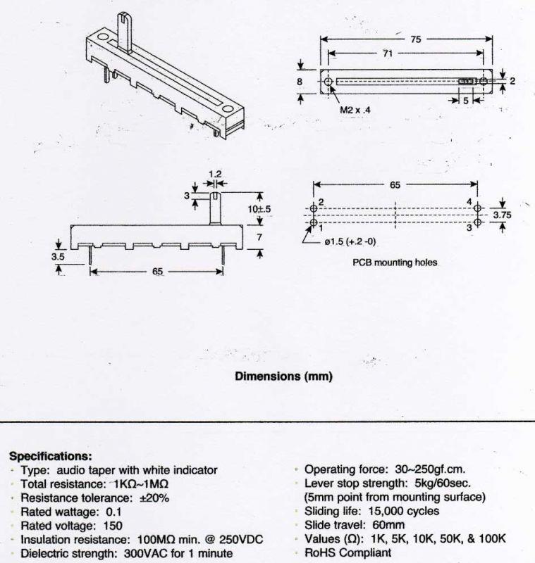 10k Slide Potentiometer Wiring Diagram slide potentiometer arduino ... rotary potentiometer diagram Wires - sewamobilbali.co