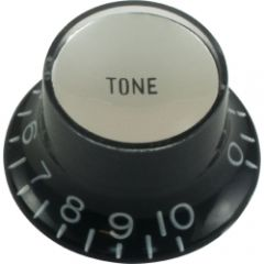 Top hat tone guitar knob, black