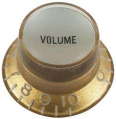 Top hat volume guitar knob, gold