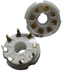 8-pin gold plated tube socket, ceramic, pc-mount