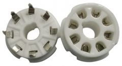 8-pin tube socket, ceramic, pc-mount